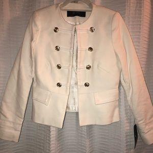 Zara White gold buttons Military Blazer jacket